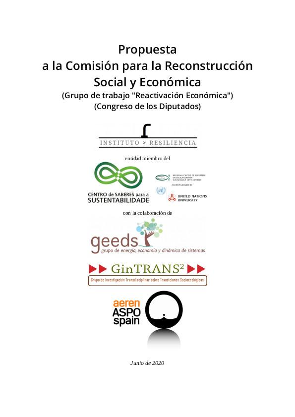 Pág. 1 de la Propuesta enviada por el Instituto Resiliencia al Congreso de los Diputados